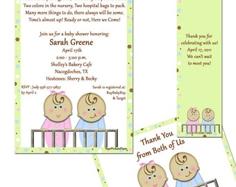 Double the Fun TWINS Baby Shower Invitation