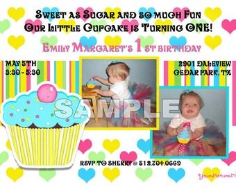 Cupcake Birthday Invitation - Photo