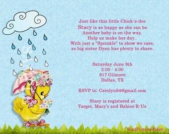 Chickadee Sprinkle Baby Shower Invitation
