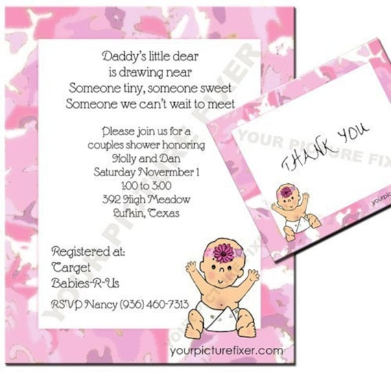 baby shower invitation pink camo for girls