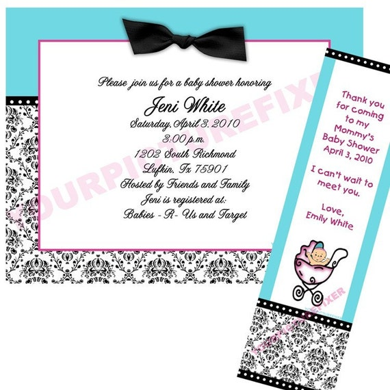 Invitation - Damask Baby Shower (2 options shown)