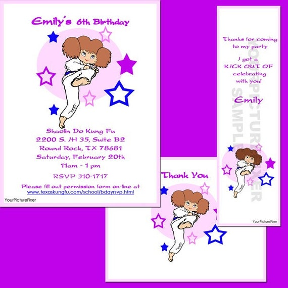 Cute Girls Martial Arts Birthday Party Invitation