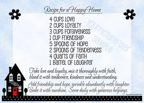 Recipe for Happy Home Print