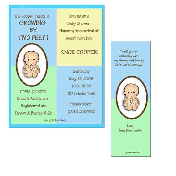 Baby Shower Invitations - Growing by Two Feet