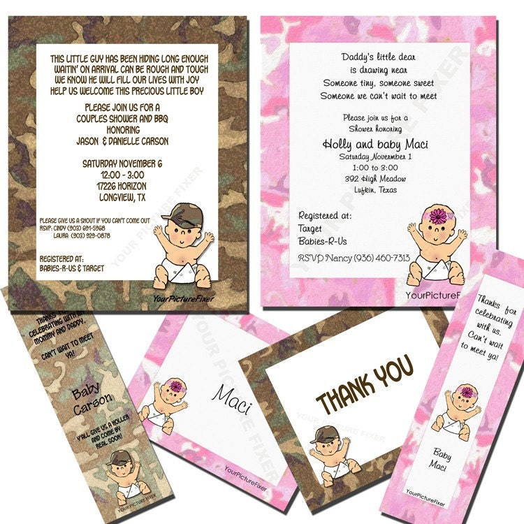 baby shower invitation camo for girl or boy