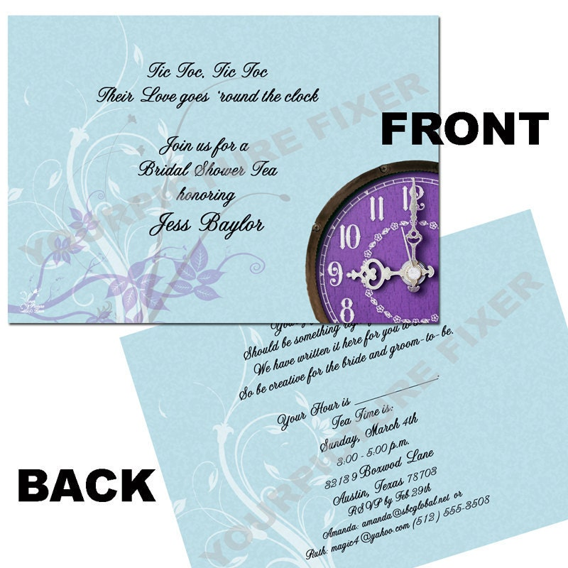 around the clock bridal shower invitations free - 28 images - quot ...