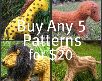 Animal Knitting Patterns, Waldorf Toys, Buy Any 5 Mamma4earth Patterns for 20 Dollars, (PDF)