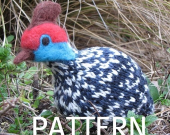 Guinea Fowl Toy Knitting Pattern, PDF