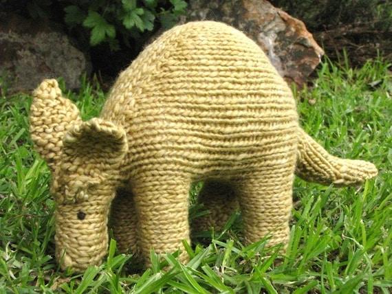 Waldorf Toy,  Aardvark, HandKnit, Stuffed Animal