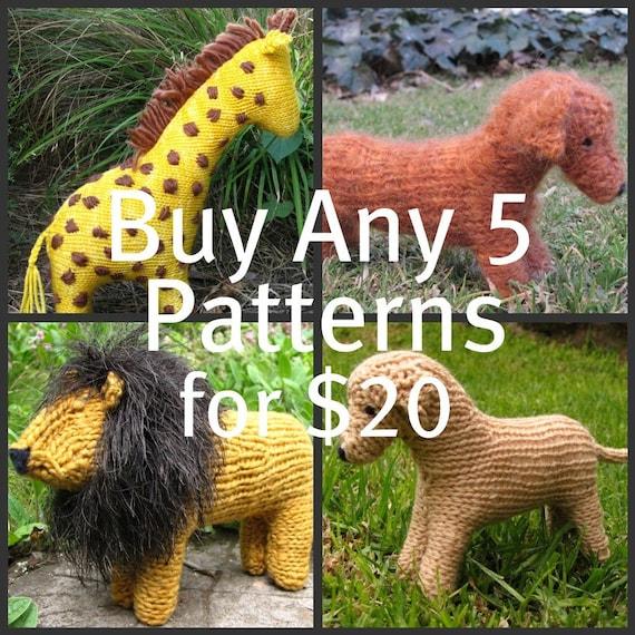 Animal Knitting Patterns, Waldorf Toys, Buy Any 5 Mamma4earth Patterns for 20 Dollars, (PDF)