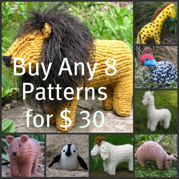 Waldorf Toys, HandKnit, Stuffed Animal Patterns, Buy Any 8 Mamma4earth Patterns for 30 Dollars, (PDF)