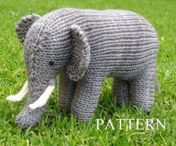 Elephant Knitting Pattern, PDF