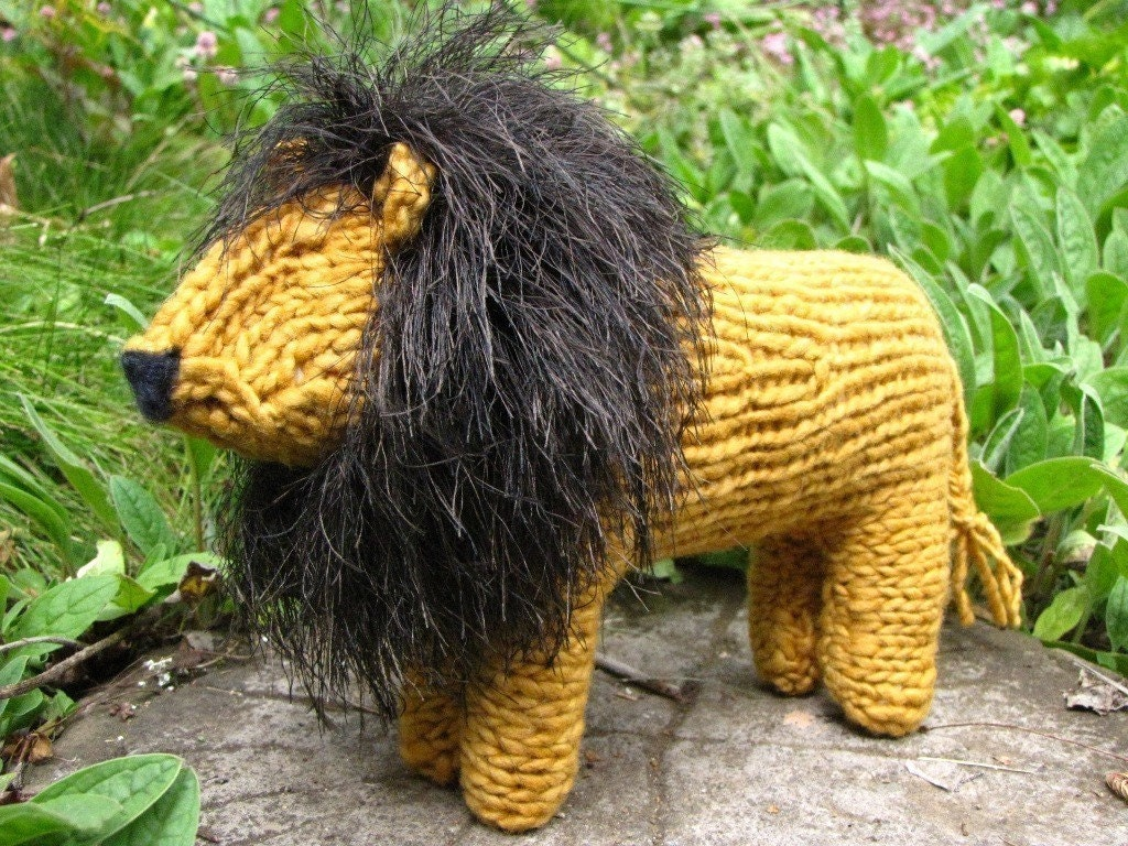 South African Lion Knitted Toy Merino Yarn by mamma4earth on Etsy