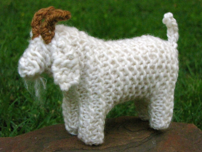 Knitting Patterns Merino Wool : Knitted Goat Toy Merino Yarn
