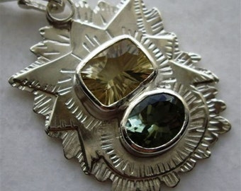 Modern Mayan Morning Golden Citrine Silvery Green Amethyst/Prasiolite Beautiful Soft Morning Colors Set On  Rays of Sun Silver Green Gold