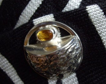 Solar Activity, Dark Gold Citrine, Polished Reticulated Silver, Single Post Tie Tac Pin Brooch, Unisex