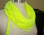 Loop-Tee-Do - Recycled Tee Shirt Necklace/Scarf- Neon Yellow