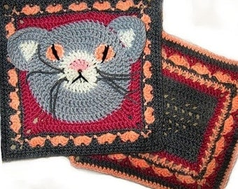 Cat , Heart - Granny Square - Crochet PATTERNs, 2 large squares, PDF, Animal. Immediate Download