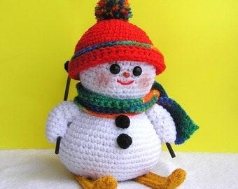 PDF Crochet Pattern SKIING SNOWMAN (English only)