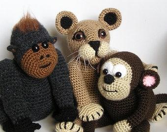 PDF crochet pattern JUNGLE BUDDIES