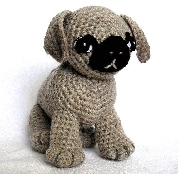 Knitted Pug Pattern : PDF Crochet Pattern A PUG Named Ted