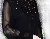 Hollywood Glam 60s Vintage Black Long Dress with Rhinestones M