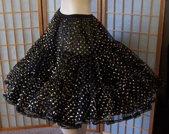 Vintage Crinoline Glittery Gold Polka Dots on Jet Black Scrumptiousness Large X Large