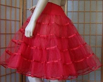 Cherry Red Vintage Tulle Crinoline Petticoat Skirt S XS