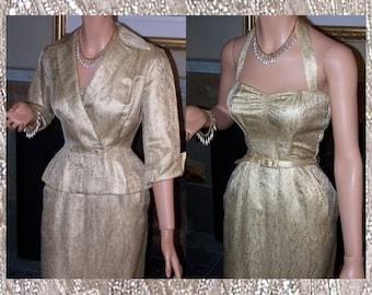 40's Gold Damask Wiggle Bombshell Halter Vintage Dress & Jeweled Jacket Set