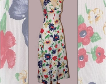 70s Garden Party Halter Sundress XS S