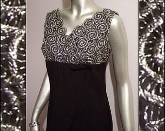 Sweet Little 60s Silver & Black Lace Dress