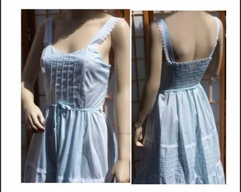 Vintage Baby Blue Spring Summer Sun Dress Cotton & Lace