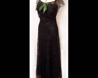 30s Black Lace Formal Gown Long Dress Walton Pierce