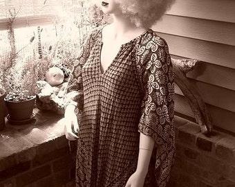 Festival Henna Ethnic Cotton Gauze Maxi Vintage Hippie Boho India Dress One Size Fits Most