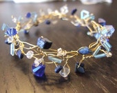 Lapis-Lazuli, glass crystal, and seed bead wire wrap bracelet - OOAK