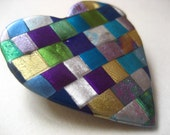 Mosaic Quilted Heart Pin in Blues, Purples, and Greens