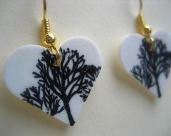black and white heart shaped tree earrings