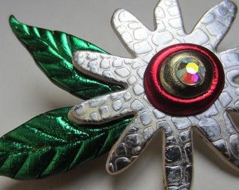 Whimsical Silver and Red Flower Pin Brooch