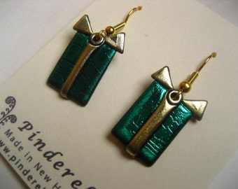Teal and Gold striped Christmas Present  holiday earrings