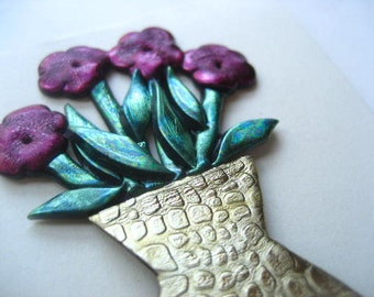 Vase of Burgundy Flowers bouquet  pin brooch
