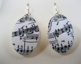 Oval Musical Note Earrings