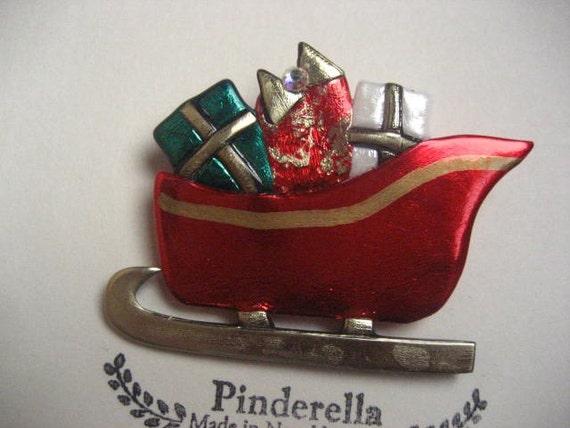 Santa's sleigh  with presents Christmas Pin