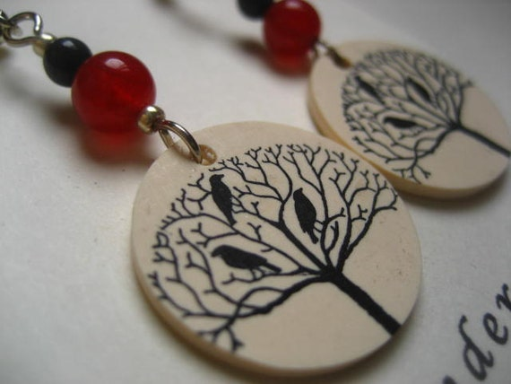 Blackbirds in a tree earrings