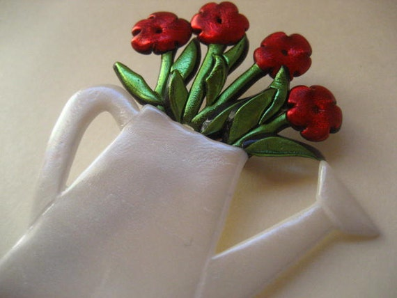 Red Flowers in Watering Can Pin