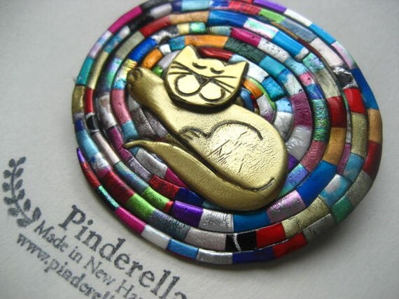 Cat on a Braided Rug Braiding pin in bright colors brooch