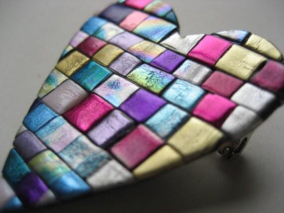 Heart Pin Booch in quilt mosaic pattern
