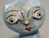 pottery BLUEBIRD WEARS STRIPED TIGHTS blue bird sculpture