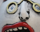 pottery THE MAD MIME wall hanging face SCULPTURE