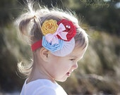 NEW-NEW-NEW La Petite Duchesse Headband-- Red Yellow Blue Flower / Rolled Rosettes Headband with Pink Bow / Fascinator / Tulle