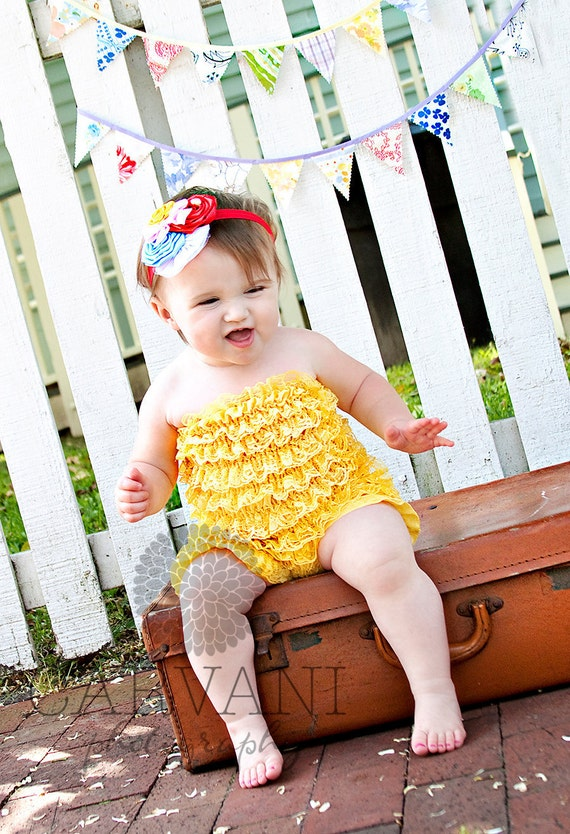 Yellow Petti Lace Romper Medium